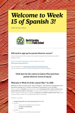 Welcome to Week 15 of Spanish 3!