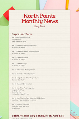 North Pointe Monthly News