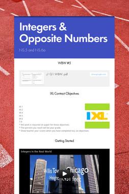 Integers & Opposite Numbers