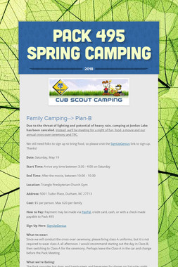 Pack 495 Spring Camping