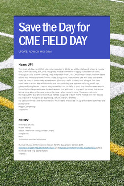 Save the Day for CME FIELD DAY