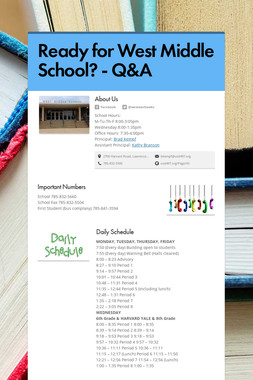 Ready for West Middle School? - Q&A