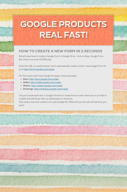 Google Products Real Fast!