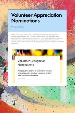 Volunteer Appreciation Nominations
