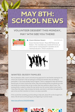 May 8th: School News