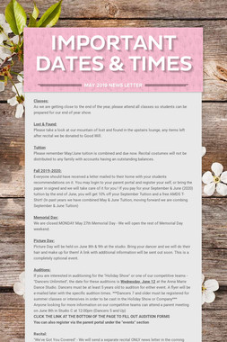 Important Dates & Times