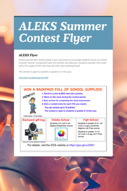 ALEKS Summer Contest Flyer