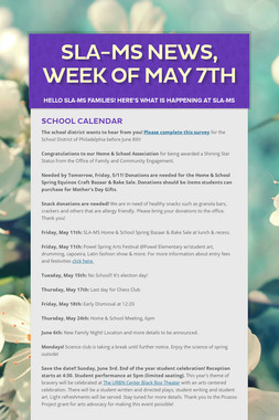 SLA-MS News, Week of May 7th