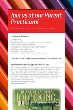 Join us at our Parent Practicum!