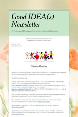 Good IDEA(s) Newsletter