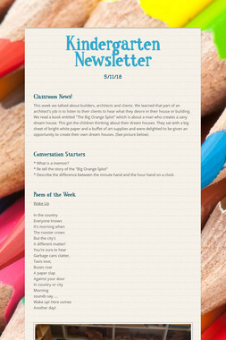 Kindergarten Newsletter