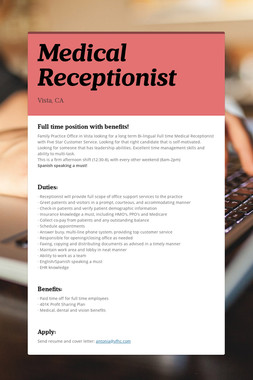 Medical Receptionist
