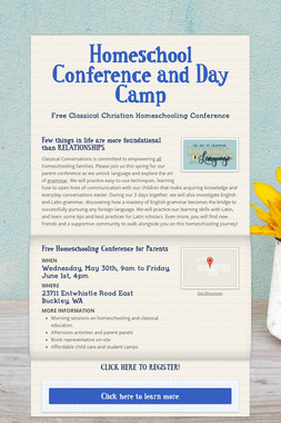 Homeschool Conference and Day Camp