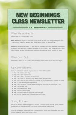 New Beginnings Class Newsletter