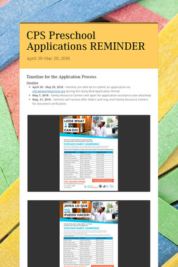CPS Preschool Applications REMINDER