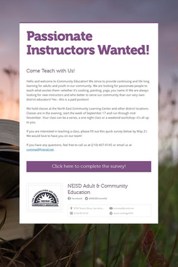 Passionate Instructors Wanted!