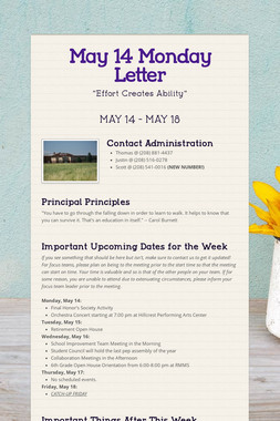 May 14 Monday Letter