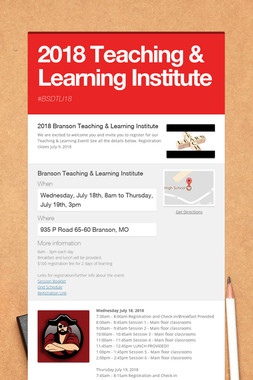 2018 Teaching & Learning Institute