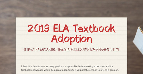 2019 ELA Textbook Adoption Smore Newsletters For Education