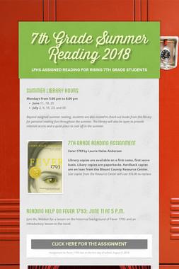 7th Grade Summer Reading 2018