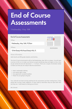 End of Course Assessments
