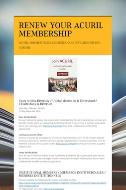 RENEW YOUR ACURIL MEMBERSHIP