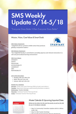 SMS Weekly Update 5/14-5/18