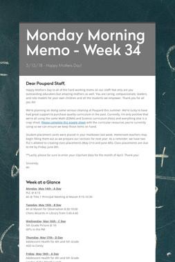 Monday Morning Memo - Week 34
