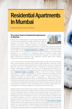 Residential Apartments In Mumbai