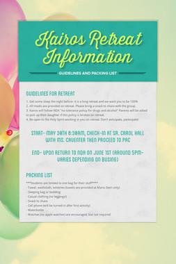 Kairos Retreat Information