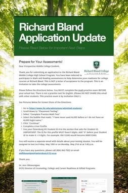 Richard Bland Application Update