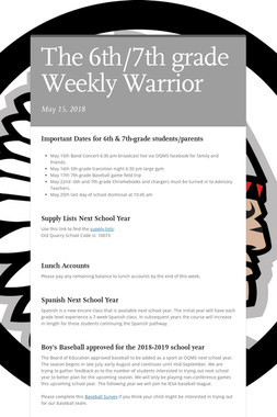 The 6th/7th grade Weekly Warrior