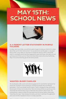 May 15th: School News