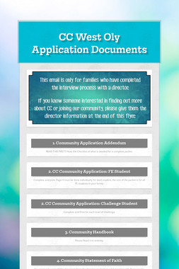 CC West Oly Application Documents
