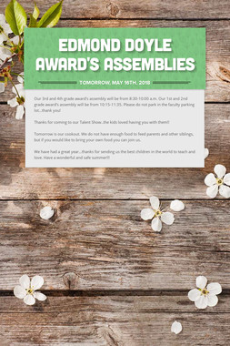 Edmond Doyle Award's Assemblies