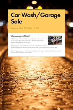 Car Wash/Garage Sale