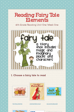 Reading Fairy Tale Elements