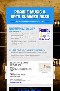 Prairie Music & Arts Summer Bash