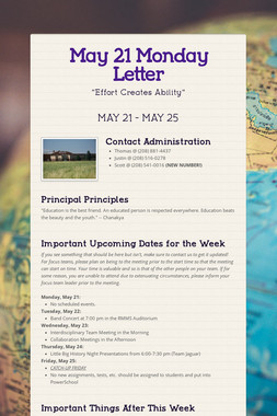 May 21 Monday Letter