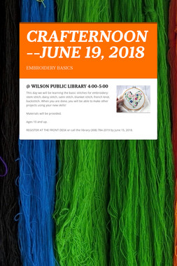 CRAFTERNOON--JUNE 19, 2018