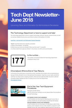 Tech Dept Newsletter- June 2018