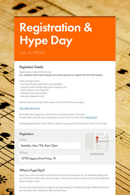 Registration & Hype Day