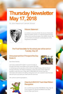 Thursday Newsletter May 17, 2018