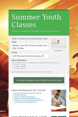 Summer Youth Classes