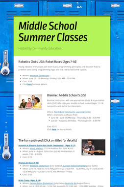 Middle School Summer Classes