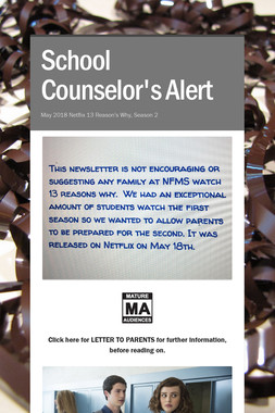 School Counselor's Alert