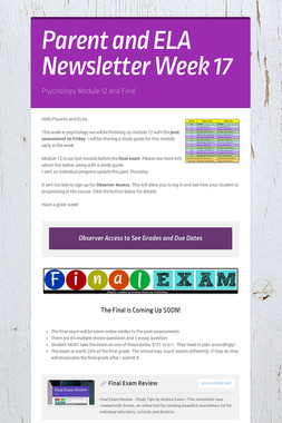 Parent and ELA Newsletter Week 17