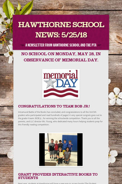 Hawthorne School News: 5/25/18