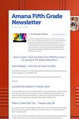 Amana Fifth Grade Newsletter