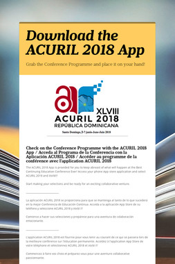 Download the ACURIL 2018 App